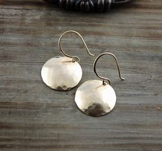 Gold Earrings 14k Gold Fill Domed Disk Earrings by true2u on Etsy