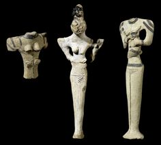 7. Terracotta figures of a women, London, British Museum, from Ur, late Ubaid Culture, c. 4500 BC. ------- Lizard heads, geometric look based on triangles, very deliberately abstract.