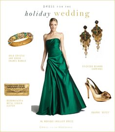 emerald green formal gowns | Emerald Green Tafetta Strapless Gown by Monique Lhuillier