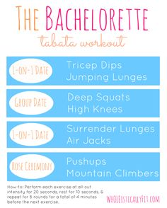 The Bachelorette drinking/exercise game. (But don't do both at once. Bad idea.)