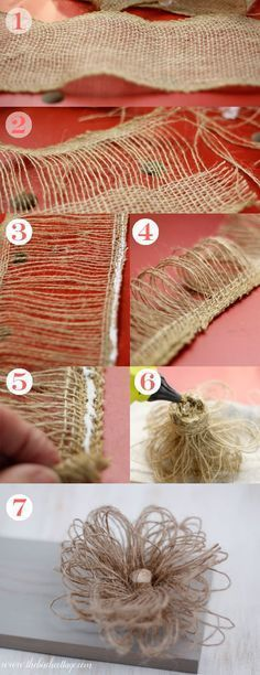 Learn to make these loopy burlap flowers from burlap ribbon. These loopy burlap … Learn to make these loopy burlap flowers from burlap ribbon. These loopy burlap flowers are the perfect rustic accent and easy to make! Burlap Canvas, Burlap Lace, Burlap Flowers, Burlap Bows, Felt Flowers, Diy Flowers, Fabric Flowers, Burlap Curtains, Burlap Wreaths
