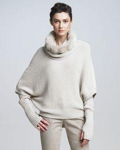 Cashmere Sweaters for Every Budget: Loro Piana Chinchilla-Neck Poncho