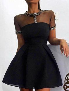 New Party Dress Long Sleeve Black Ideas Tube Dress, Mesh Dress, Belted Dress, Dress Long, Party Fashion, Look Fashion, Womens Fashion, Fashion Fall, Fashion Design