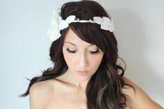 Grecian Wedding Tiara Flower Crown White whimsical fairy by deLoop