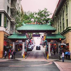 Take a walk in Chinatown: start here, at the Dragon's Gate, near the Israeli-owned art stores, and head north on Grant Avenue.