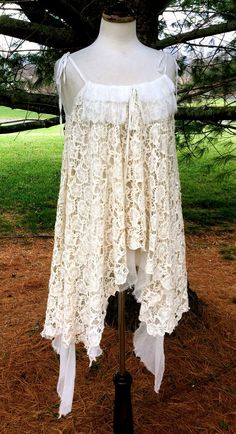 Urban Outfitters Pins Needles ivory lace rayon chiffon hi lo swing top SZ S $119 #PinsNeedles #hilolaceswingtunictopdress #Formal
