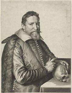 Jan Harmensz. Muller   Portret van Jan Neyen, Jan Harmensz. Muller, Michiel Jansz van Mierevelt, 1608   Portret van Jan Neyen, minderbroeder en onderhandelaar met de Staten Generaal over het Twaalfjarig Bestand. Zijn hand rust op een schedel.