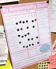 Girls Responsibility Reward Chart. Teach Older Kids Responsibility. Homework and Chore Chart. Printable. PDF. DOWNLOAD and PRINT.