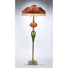 Benny Floor Lamp, Kinzig Design, Fuchsia, Salmon, Green, Blown Glass, Silk Shade, Artistic Artisan Designer Floor Lamps -