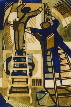 Lill Tschudi, Sticking up Posters, 1933 (Cutting Edge: Modernist British Printmaking, Dulwich Picture Gallery, Aug Harlem Renaissance, Museum Of Fine Arts, Art Museum, Linocut Prints, Art Prints, Art Deco, Art Nouveau, Wood Engraving, Woodblock Print