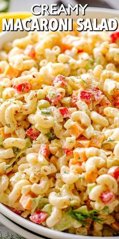Creamy Macaroni Salad Recipe - Easy & So Delicious! This is not your classic southern macaroni salad! This Creamy Macaroni Salad is full of colorful and surprising veggies. Easy to make and perfect on the side of any weeknight meal! Southern Macaroni Salad, Creamy Macaroni Salad, Classic Macaroni Salad, Best Macaroni Salad, Kraft Macaroni Salad Recipe, Pot Pasta, Pasta Dishes, Food Dishes, Pasta Salad