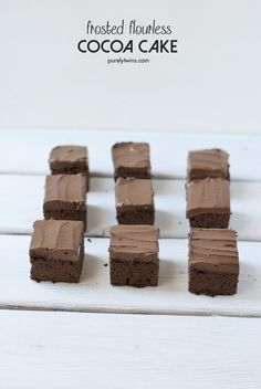 the only frosted cocoa cake recipe you will ever need. a great flourless #gf #grainfree chocolate cake with a delicious creamy chocolate frosting    purelytwins.com