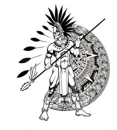 Aztec Warrior Tattoo Design