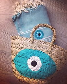 evileye pestemal and straw basket by cottonprince.gr