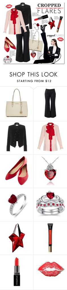 """""""Would You Wear It: Cropped Flares"""" by sweetsely ❤ liked on Polyvore featuring MICHAEL Michael Kors, Michael Kors, Yves Saint Laurent, Gucci, Wet Seal, Thierry Mugler, Smashbox, cropped, polyvoreeditorial and pvstyleinsider"""