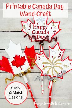 Kids will have fun making this easy Canada Day printable wand craft that can also be used as a noisemaker! A fun paper craft kids will love with 5 mix and match designs to choose from. Craft Projects For Kids, Paper Crafts For Kids, Crafts For Kids To Make, Craft Activities For Kids, Preschool Crafts, Art For Kids, Craft Kids, Summer Activities, Summer Crafts