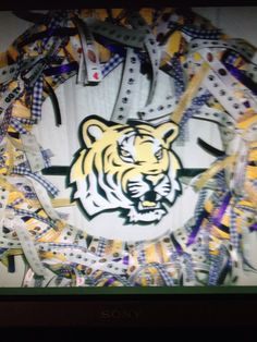 Custom LSU wreath...tiger completely hand carved & hand painted