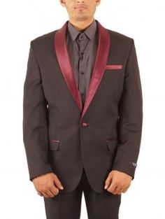 Givo Black and Maroon Cotton Dinner Suit