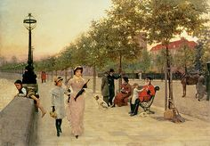 Walk along the Enbankment at Chelsea - Frederick Brown