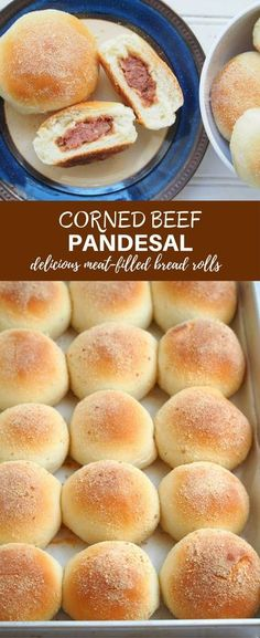 Corned Beef Pandesal - Sharon Ball - Corned Beef Pandesal Corned Beef Pandesal is the heartier cousin of our classic Filipino bread roll, Pandesal. Soft, fluffy and bursting with meaty corned beef, it's the perfect anytime snack! Filipino Bread Recipe, Filipino Dishes, Filipino Desserts, Filipino Recipes, Filipino Food, Pinoy Dessert, Asian Desserts, Asian Recipes, Corned Beef