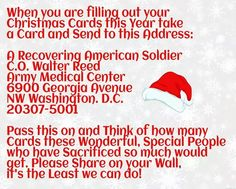 When you are filling out your Christmas Cards... A recovering American Soldier Walter Reed Army Medical Center