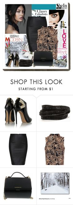 """""""SHEIN Contest - Black skirt"""" by fashionvoice2015 ❤ liked on Polyvore featuring Casadei, Pieces, Glamorous and Givenchy"""