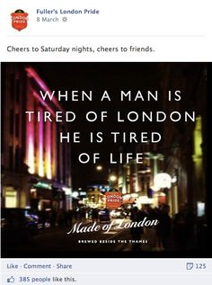 fullers, london pride, facebook post, wall post, social media