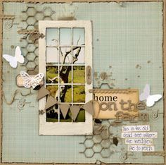 Belinda Spencer @ Dusty Attic door (love it! Scrapbook Paper Crafts, Scrapbook Cards, Travel Scrapbook, Paper Crafting, Scrapbook Page Layouts, Scrapbooking Ideas, Scrapbook Designs, Photo Layouts, Scrapbook Sketches