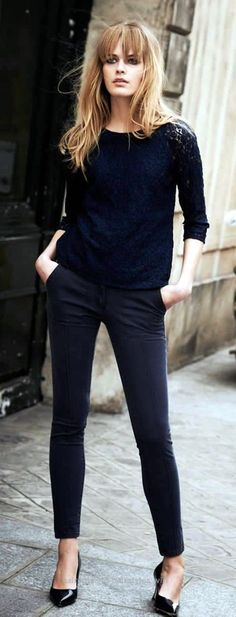 Lovely 75 Casual Work Outfits Ideas 2016 Colors are too dark but the Lace Top is Great. The post 75 Casual Work Outfits Ideas 2016 Colors are too dark but the Lace Top is ..