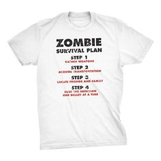 Zombie Survival Plan T-Shirt Funny Zombie Attack Shirts