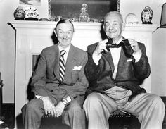 The last photo of Laurel and Hardy together, 1956. Hardy would die about a year later; Laurel passed away in 1965.