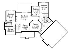 Lower Floor Plan of Craftsman   Traditional   House Plan 42498