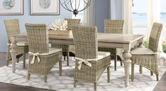 Cindy Crawford Home Key West Sand 5 Pc Rectangle Dining Room with Rattan Chairs Set includes Side & Leg Table. Find affordable Dining Room Sets for your home that will complement the rest of your furniture. Rectangle Dining Table, Beige Dining Room, Dining Table Dimensions, Dining Room Bench, Dining Room Sets, Rooms To Go Furniture, Affordable Dining Room Sets, Dining Room Suites, Dining Room Table Decor