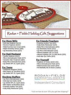 Rodan and Fields Christmas List. Message me to learn more- mitzknight@gmail.com Or go Shopping www.mknight1.myrandrf.com