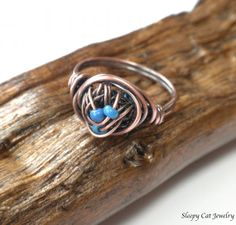 Copper and Blue Wire Wrapped Ring by SleepyCatJewelry on Etsy, $15.00