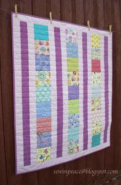 Flexi Strip Baby Quilt Tutorial at Sew in Peace. Would make a fast and easy donation quilt!