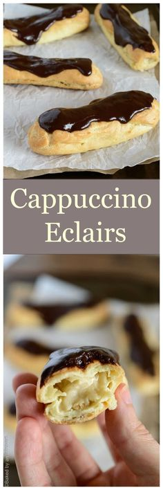 If you're in search of a unique eclair flavor then look no further than this incredibly easy recipe for cappuccino eclairs! via Baked by an Introvert pastry Profiteroles, Eclairs, Donut Recipes, Coffee Recipes, Cake Recipes, Dessert Recipes, Cooking Recipes, Just Desserts, Delicious Desserts