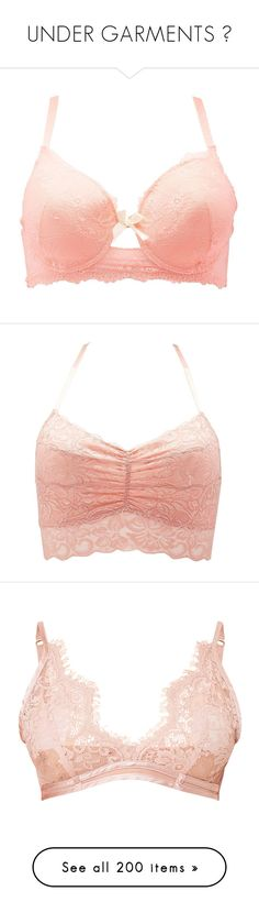 """""""UNDER GARMENTS """" by theonlydej ❤ liked on Polyvore featuring plus size women's fashion, plus size clothing, plus size intimates, plus size bras, bra, lingerie, peach, sheer underwire bra, women's plus size lingerie and sheer lace bra"""