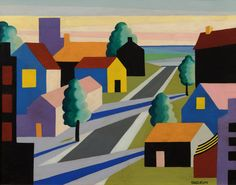 """Osvaldo Louis Guglielmi """"Houses and Street,"""" c. 1946. Oil on board, 20 x 16 inches. Signed lower right. Courtesy of D. Wigmore Fine Art."""