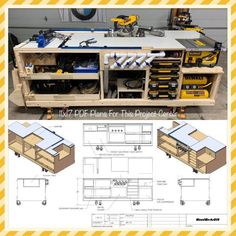 Workbench plans - Mobile Project Center Workbench Plans DeWalt Kreg Miter Saw Stand Table Saw Outfeed Router Workbench Plans Diy, Table Saw Workbench, Mobile Workbench, Woodworking Workbench, Woodworking Projects Diy, Woodworking Shop Layout, Garage Workbench, Miter Saw Table, Woodworking Basics