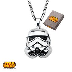Stainless Steel Star Wars 3D Storm Trooper #Pendant in a #Necklace. #jewelry #StarWars #Disney #stormtrooper #darkside