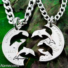 Dolphin necklace, Interlocking Relationship set, hand cut coin; This is so cool!