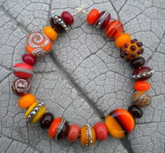 AUTUMN MIX Dots and Scrolls Lampwork Beads by by CherieRanfranz