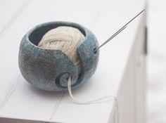 Hand Made Pottery Yarn Bowl in Blue with Bumps, Stoneware Yarn Bowl, Knitting Bowl, Ready to Ship, Raku