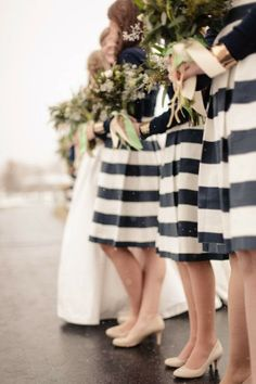 striped dresses for the bridesmaids. so chic. #black #white #wedding