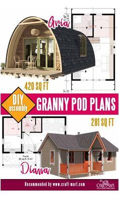 Modern Tiny House, Tiny House Cabin, Tiny House Living, Tiny House Plans, A Frame House Plans, Cottage Floor Plans, Log Cabin Homes, House With Porch, House Floor Plans