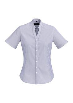 Self fabric stand collar. Stand Collar Shirt, New Job, Blue Shorts, Stretch Fabric, Work Wear, Chevron, Formal, Lady, Cotton