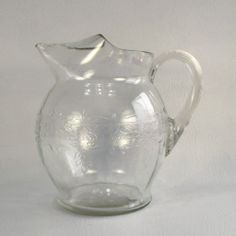 Stippled Rose Band Pitcher 1930 33 Macbeth Evans 70 Ounce Clear Depression Glass | eBay