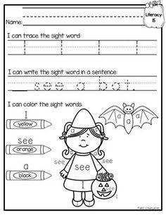 October morning work for kinder!