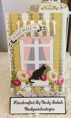 Get Well Card / Made with Anna Griffin Window Ledge Card Making Kit / Handcrafted By Cindy Babich (cindyswishestogive Sympathy Cards, Greeting Cards, Window Ledge, Anna Griffin Cards, Card Making Kits, Window Cards, Hearth And Home, Cat Cards, Shaker Cards